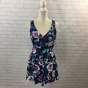 Bright and Flattering Skirted Floral One Piece